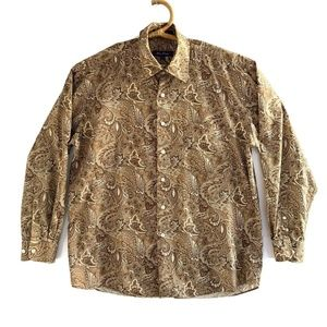 Alan Flusser L Brown Paisley Button Down Shirt Lon